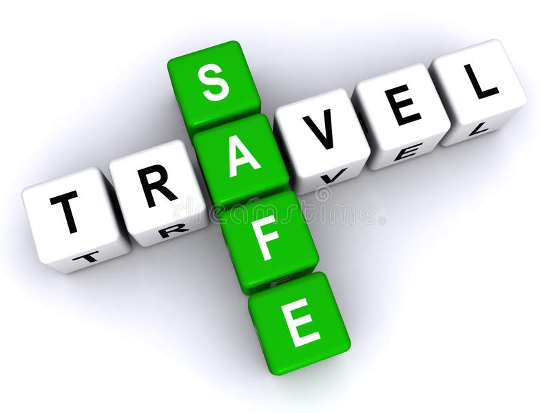 Safe travel. An illustration of a crossword with letter blocks forming the words 'safe travel stock illustration