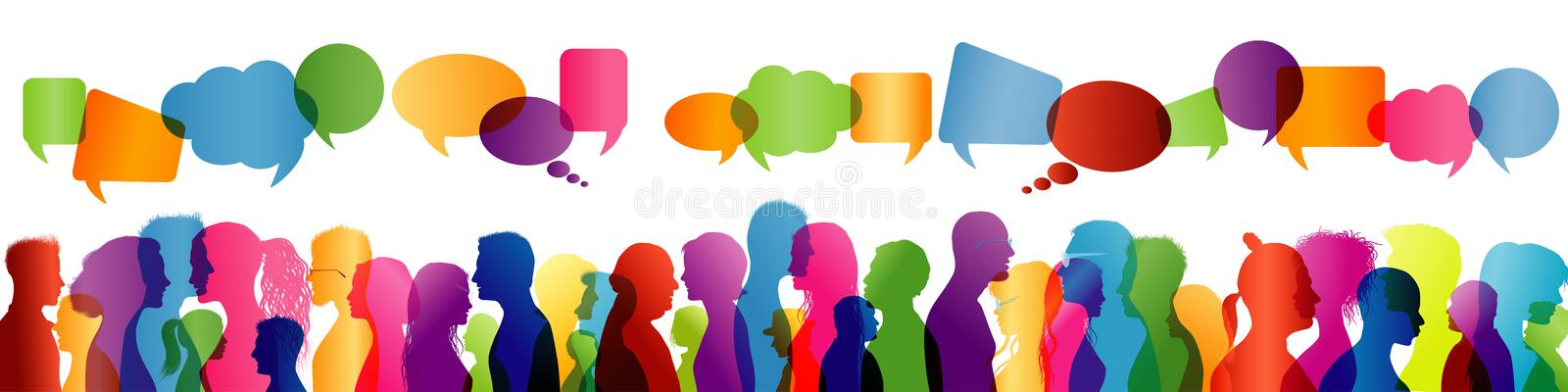 Communication between people. Group of people talking. Crowd talking. Colored profile silhouette. Speech bubble vector illustration