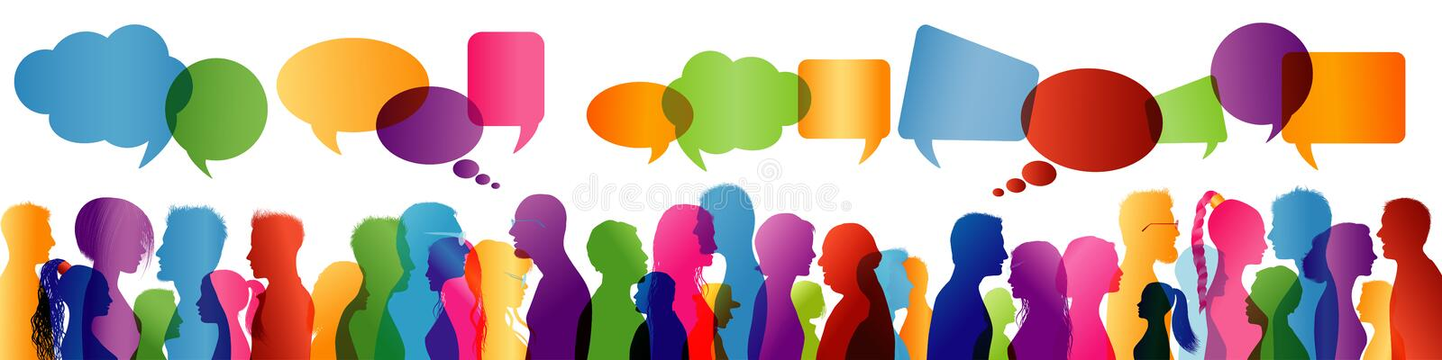 Crowd talking. Group of people talking. Communication between people. Colored profile silhouette. Speech bubble. Illustration with crowd chatting. Communication vector illustration
