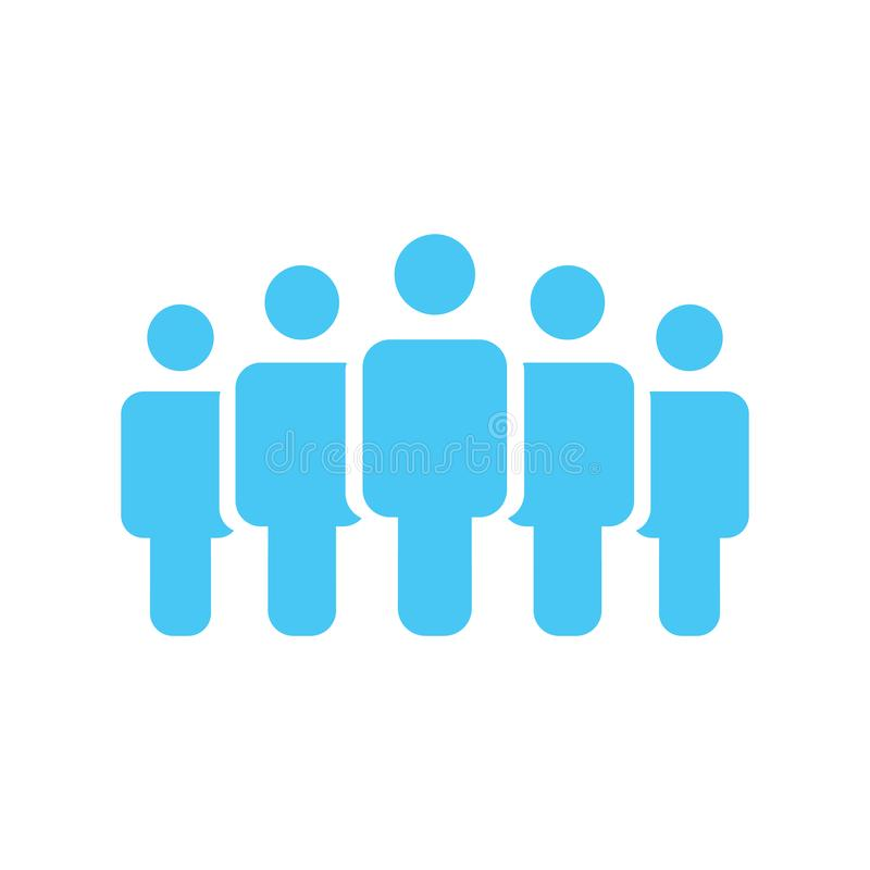Illustration of crowd of five people icon silhouettes vector. Social icon. Flat style design. User group network. Corporate team g. Illustration of crowd of royalty free illustration