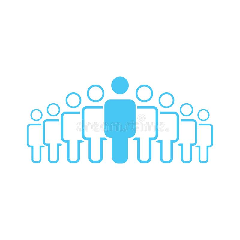 Illustration of crowd of nine people icon silhouettes vector. Social icon. Flat style design. User group network. Corporate team g. Illustration of crowd of stock illustration
