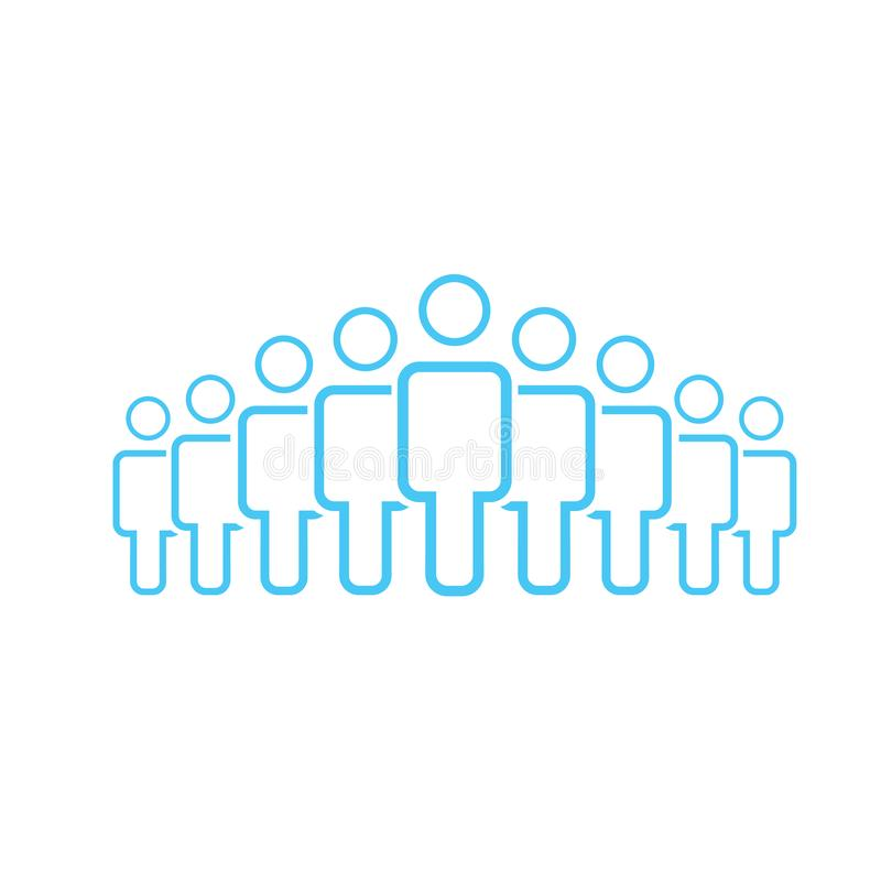 Illustration of crowd of nine people icon silhouettes vector. Social icon. Flat style design. User group network. Corporate team g. Roup. Business team work stock illustration