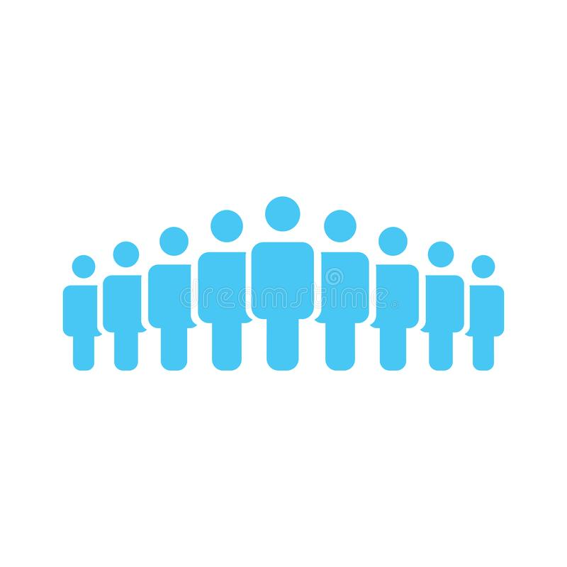 Illustration of crowd of people icon silhouettes vector. Social icon. Flat style design. User group network. Corporate team group. Business team work activity royalty free illustration