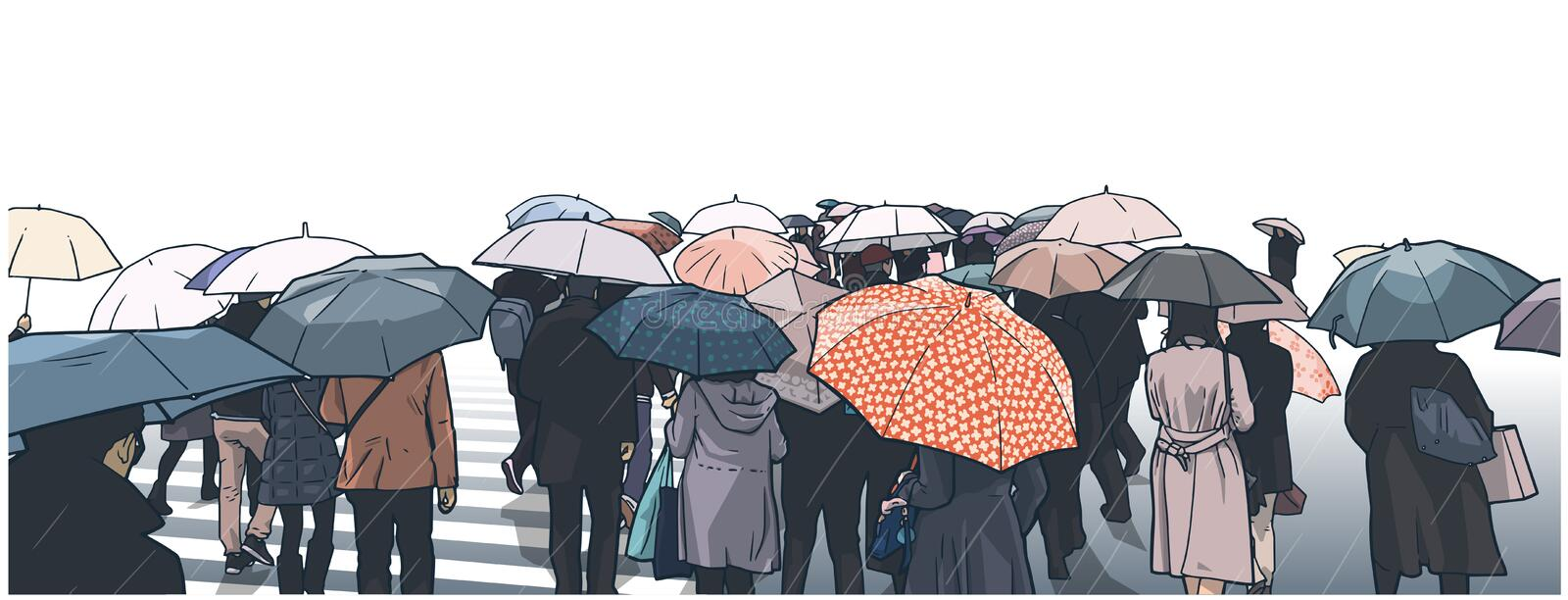 Illustration of crowd of people waiting at street crossing in the rain with rain coats and umbrellas. Stylized drawing of Tokyo crowd in rain royalty free illustration