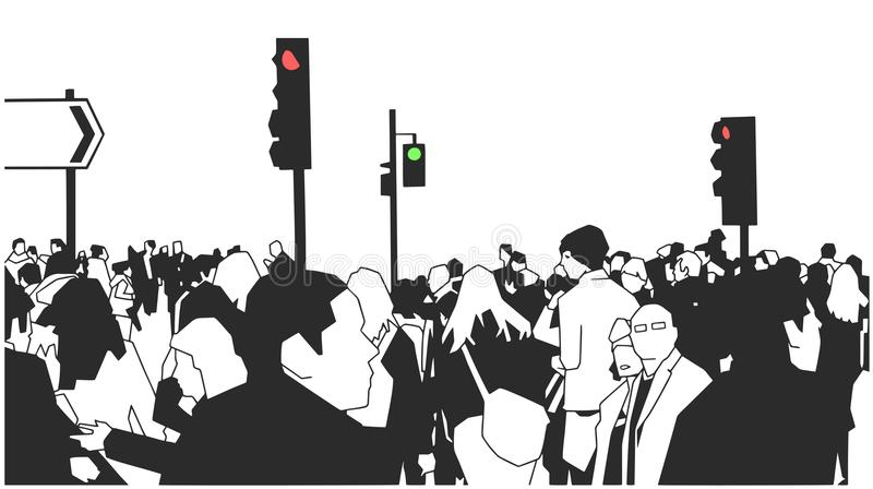 Illustration of crowd of people walking on the street with street signs and traffic lights stock illustration