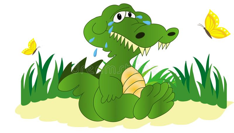 Illustration of crying crocodile stock illustration