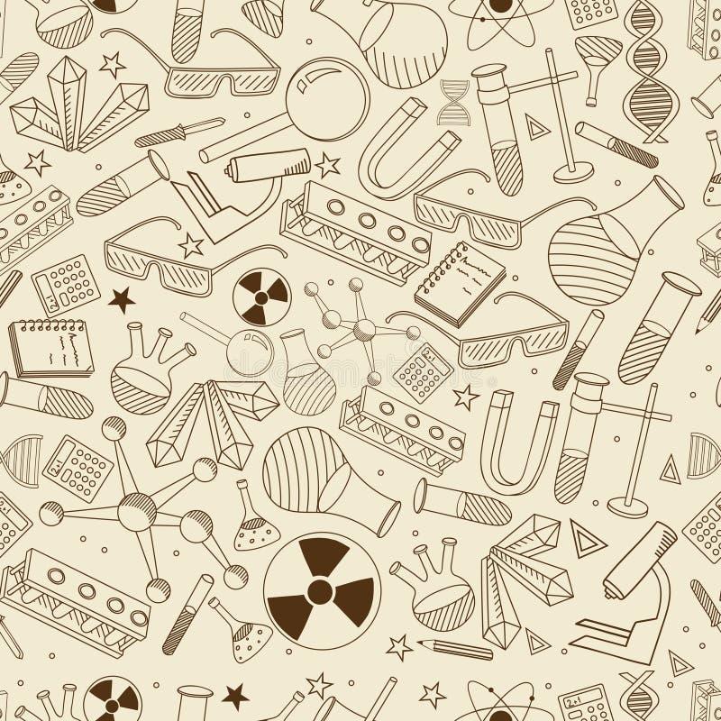 Illustration cseamless de vecteur de chimie rétro illustration stock