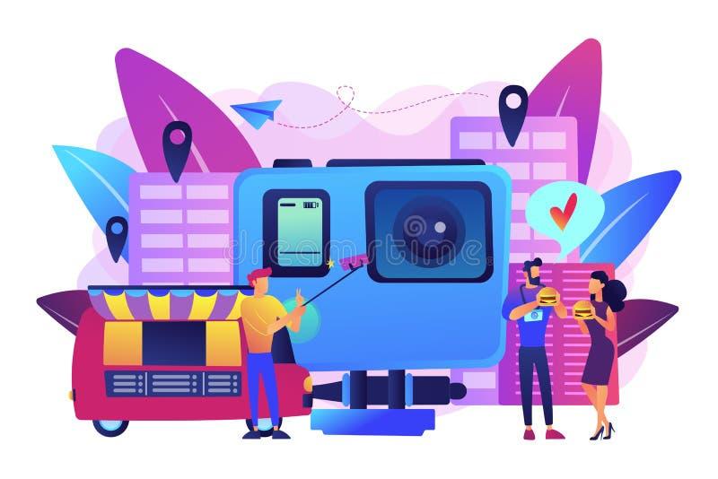 Illustration culinaire de vecteur de concept de tourisme illustration stock