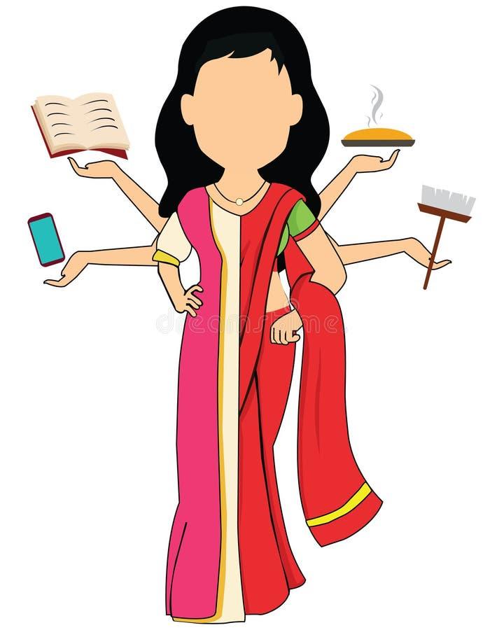 Illustration culturelle traditionnelle de vecteur de femme de costume dans le concept superbe de maman, beaucoup des mains foncti illustration libre de droits