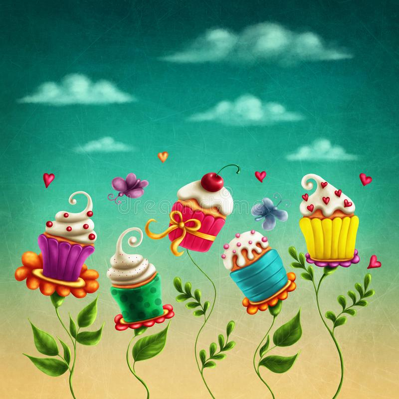 Cup cakes flowers. Illustration with cup cakes flowers stock illustration