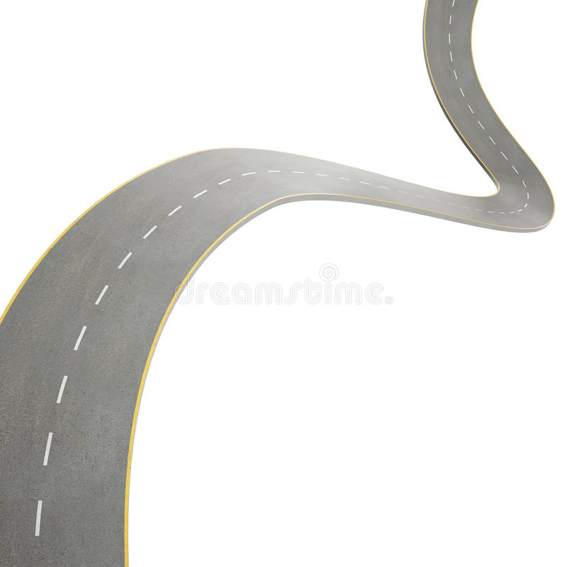 Illustration of a curving, bending road, isolated vector illustration