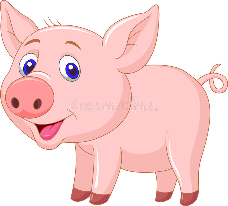 Cute baby pig cartoon royalty free illustration