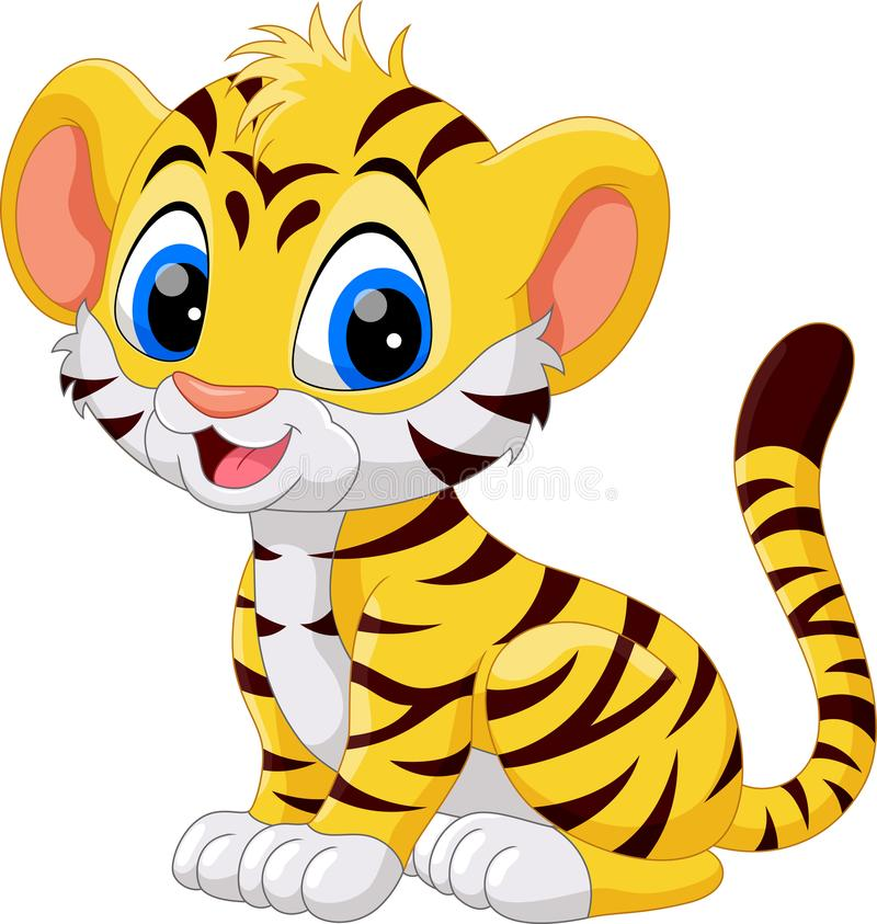 Illustration of cute baby tiger cartoon. Isolated on white background vector illustration