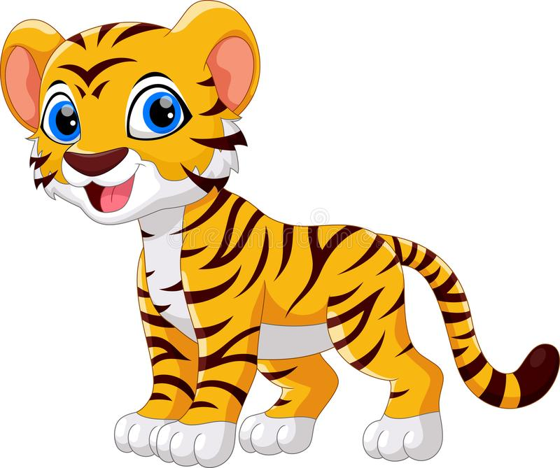 Illustration of cute baby tiger cartoon smile. Isolated on white background royalty free illustration