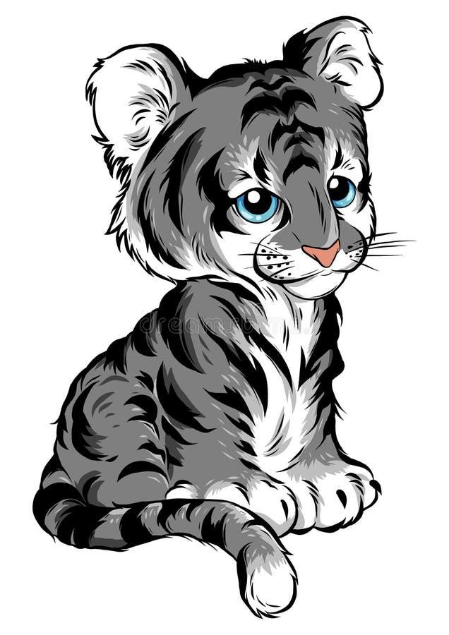 Vector Illustration of cute baby tiger lies stock illustration