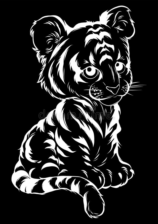 Vector Illustration of cute baby tiger lies. Illustration of cute baby tiger lies royalty free illustration
