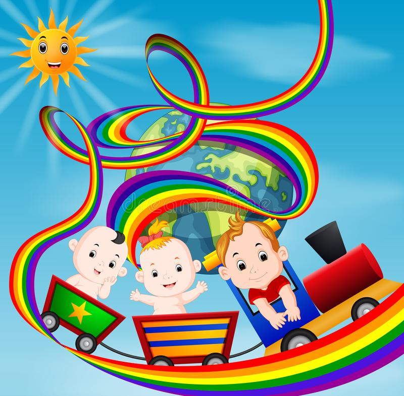 Cute baby and train on the rainbow vector illustration
