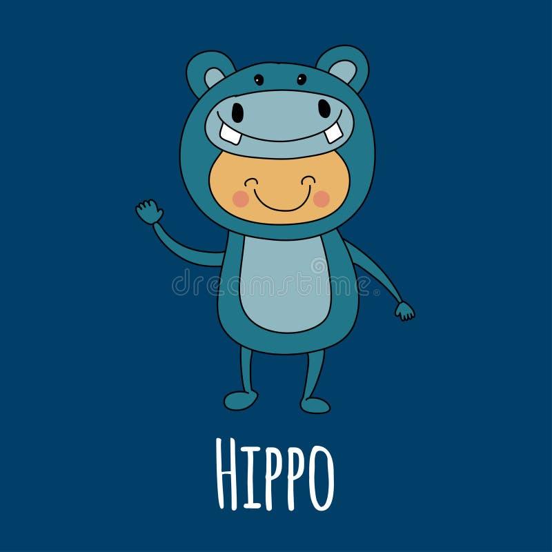 Illustration of cute baby wearing hippo costume stock illustration