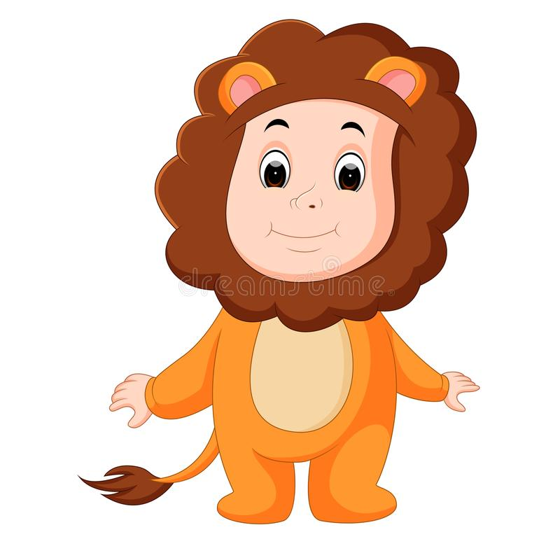 Cute baby wearing a lion suit stock illustration