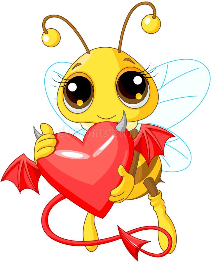 Cute Bee Holding Devil Heart royalty free illustration