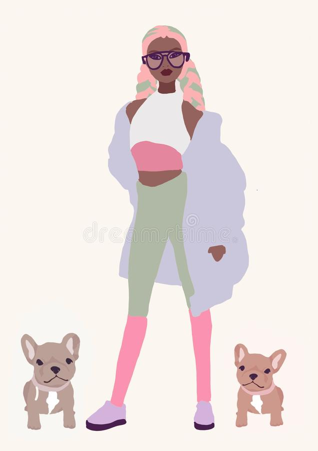 Illustration cute biracial or black girl. asian fashion woman with brown skin. afro America trendy girl royalty free illustration