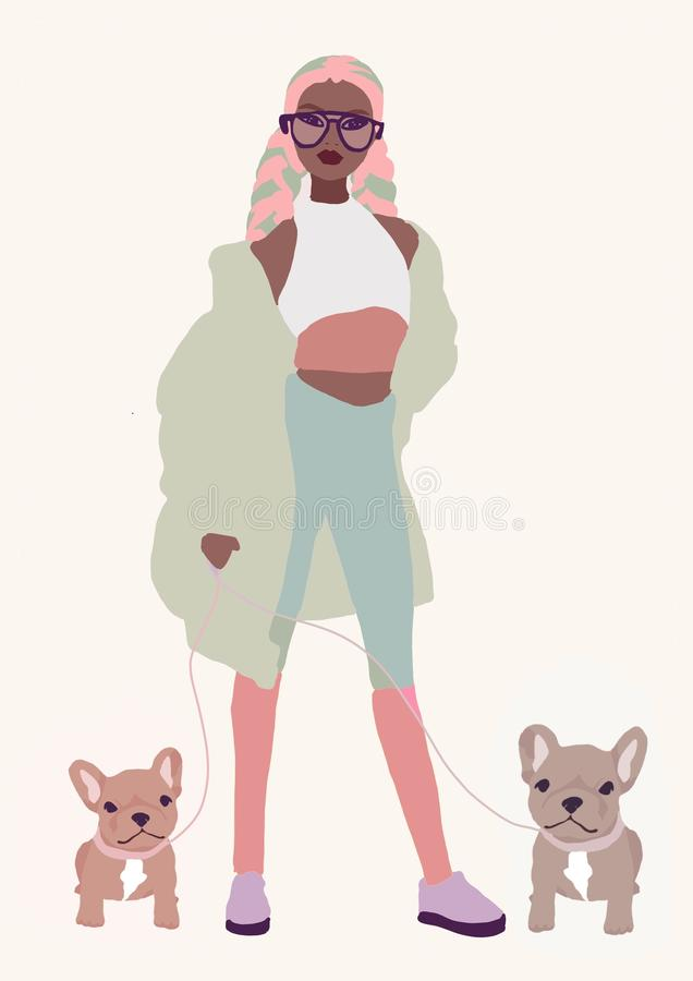 Illustration cute biracial or black girl. asian fashion woman with brown skin. afro America trendy girl stock illustration