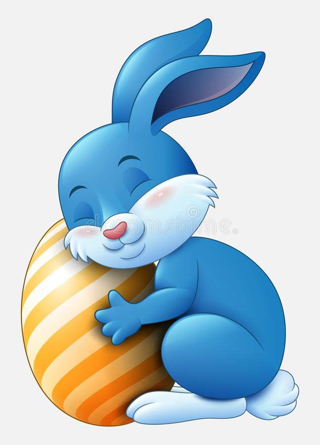 Cute blue Easter Bunny hugged egg decorated isolated on a white background royalty free illustration