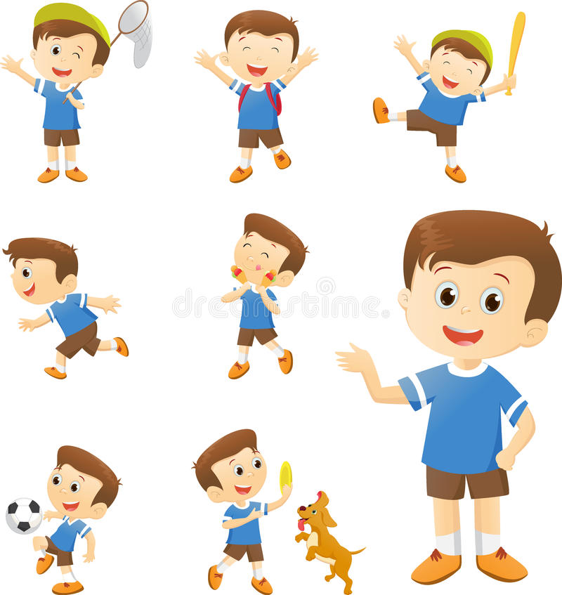 Illustration of cute boy cartoon character in many action. Isolated on white isolated on white stock illustration