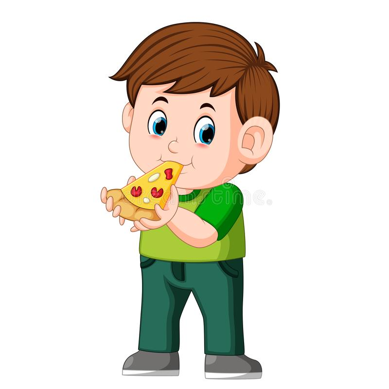 Cute boy eating pizza royalty free illustration