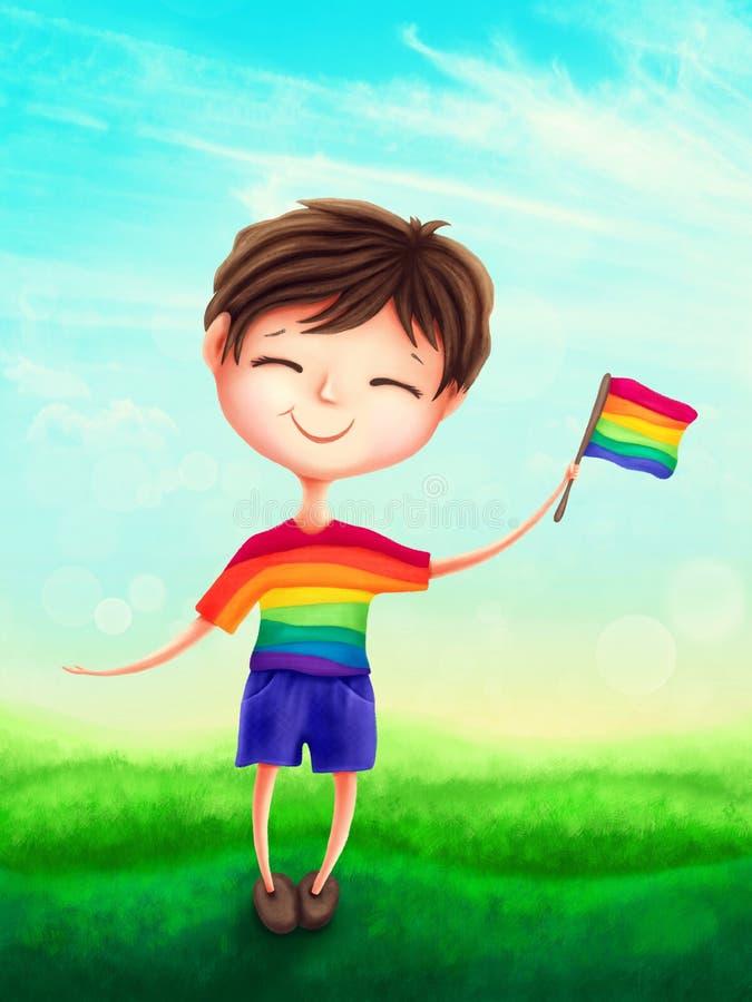 Cute boy with a rainbow flag. Illustration of a cute boy with a rainbow flag royalty free illustration