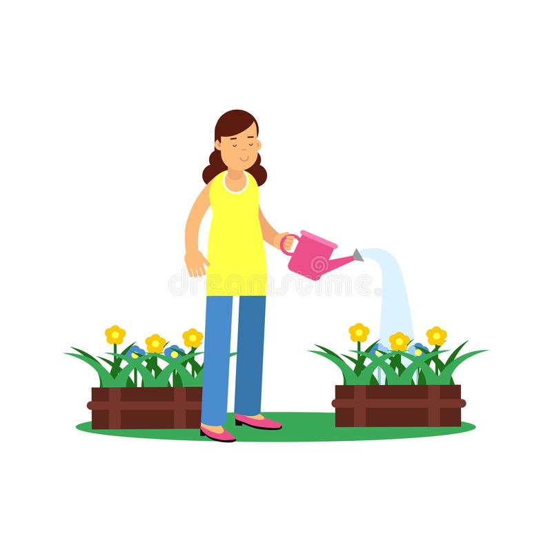 Cute brunette young girl character watering flowers. Gardening and floriculture, people hobby concept. Flat cartoon royalty free illustration