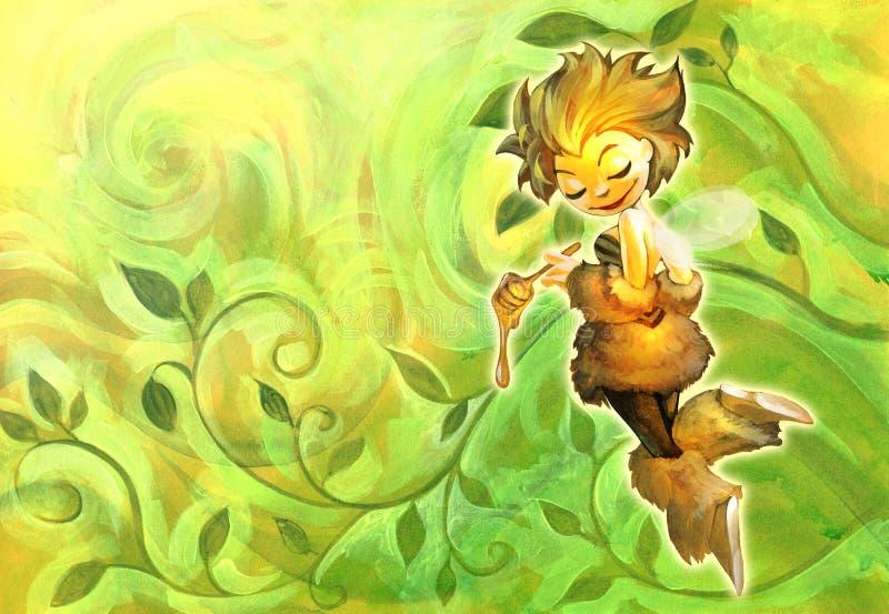 Illustration of a cute cartoon bee holding honey dipper vector illustration