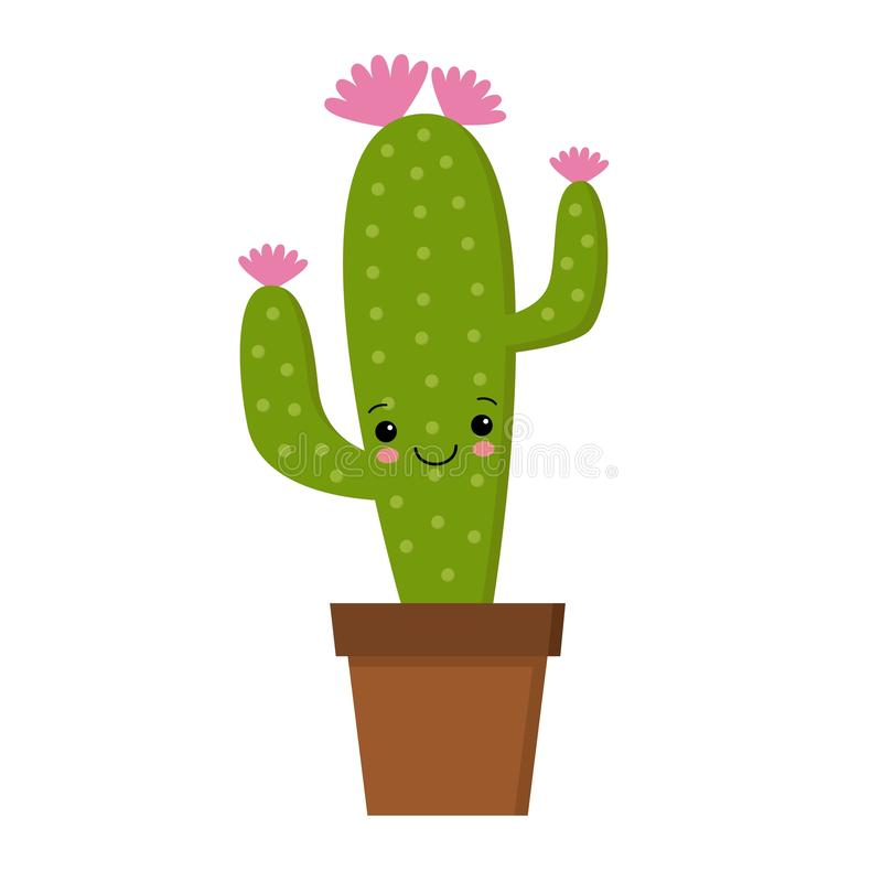 Illustration of cute cartoon cactus with funny face in pot. Can be used for cards, invitations or like sticker vector illustration