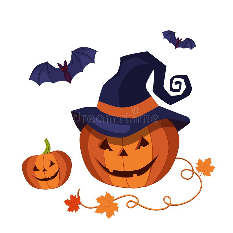 Carved Halloween Pumpkin Wearing a Pointed Witch Hat. An illustration of a cute cartoon carved Halloween pumpkin with happy smile and pointed witch hat and bats stock illustration
