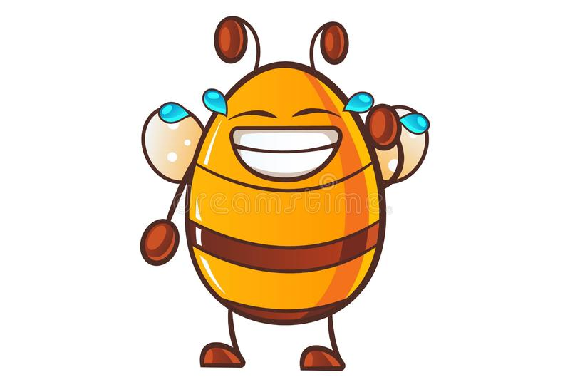 Illustration Of Cute Cartoon honey bee. Vector cartoon illustration of cute honey bee laughing out loud.Isolated on white background royalty free illustration