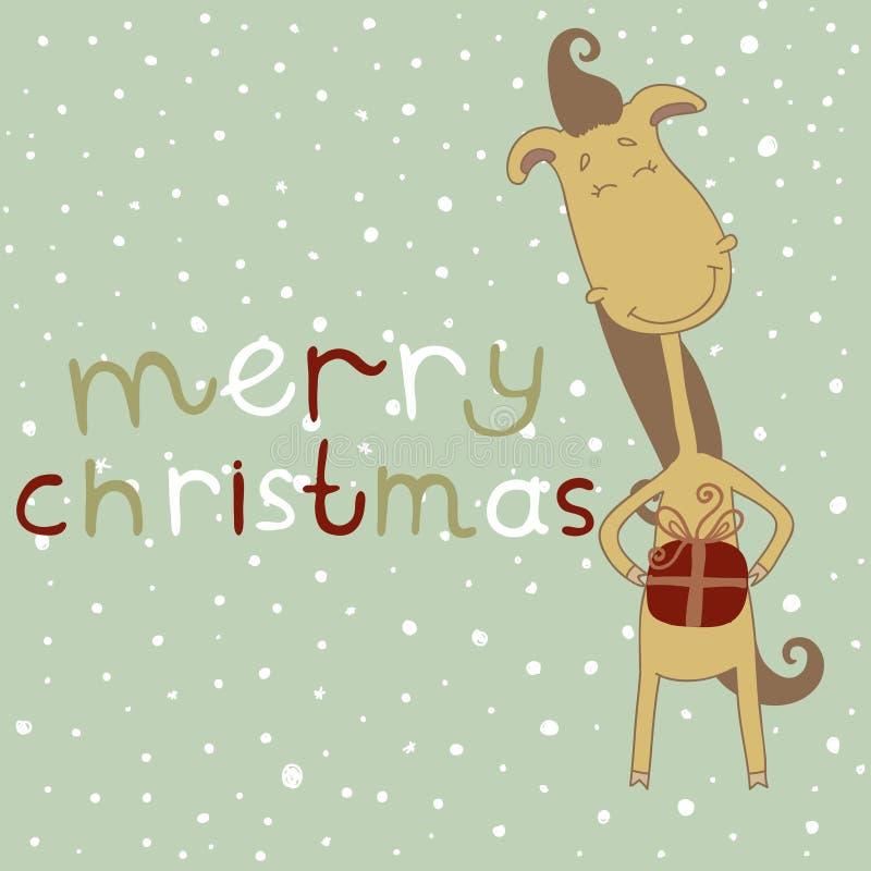 Illustration of a cute cartoon horse. Christmas an stock photos