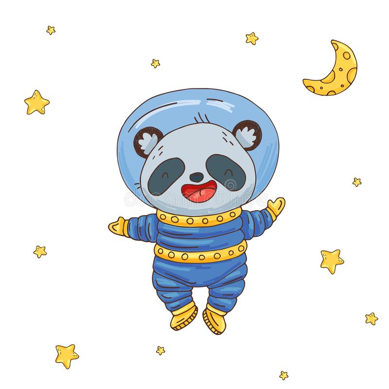 Illustration with cute cartoon panda astronaut in space vector illustration