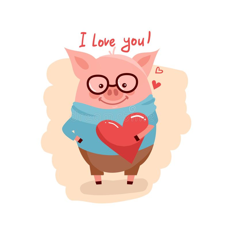 Illustration of cute cartoon pig with pink large heart vector illustration