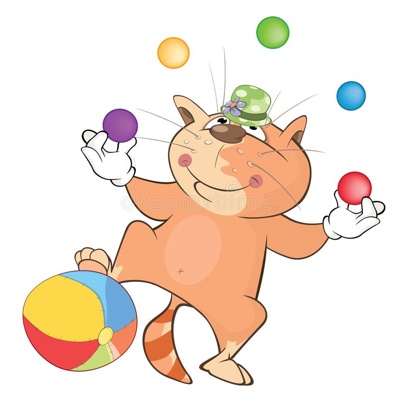 Illustration of a Cute Cat Juggler. Cartoon Character royalty free illustration
