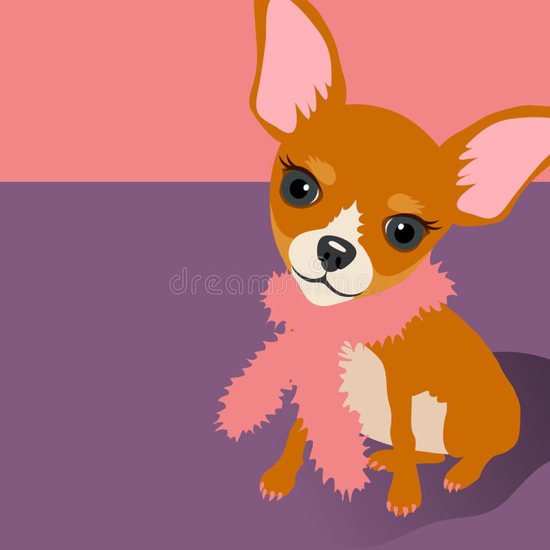 Illustration of a cute Chihuahua Dog sitting. Illustration of a cute Chihuahua dog with space for text. For posters, cards, banners vector illustration