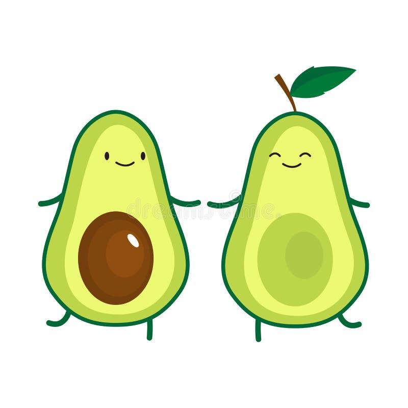 Illustration of cute dancing avocados. Illustration of cute dancing avocado. Vector illustration royalty free illustration