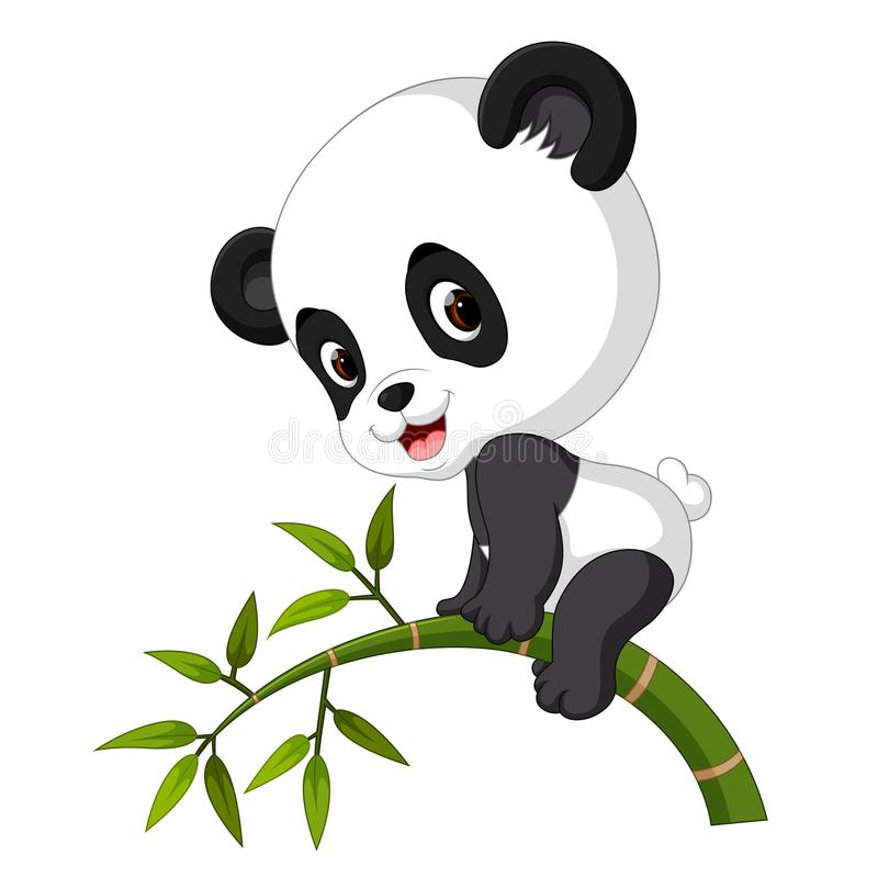 Cute funny baby panda hanging on the bamboo vector illustration