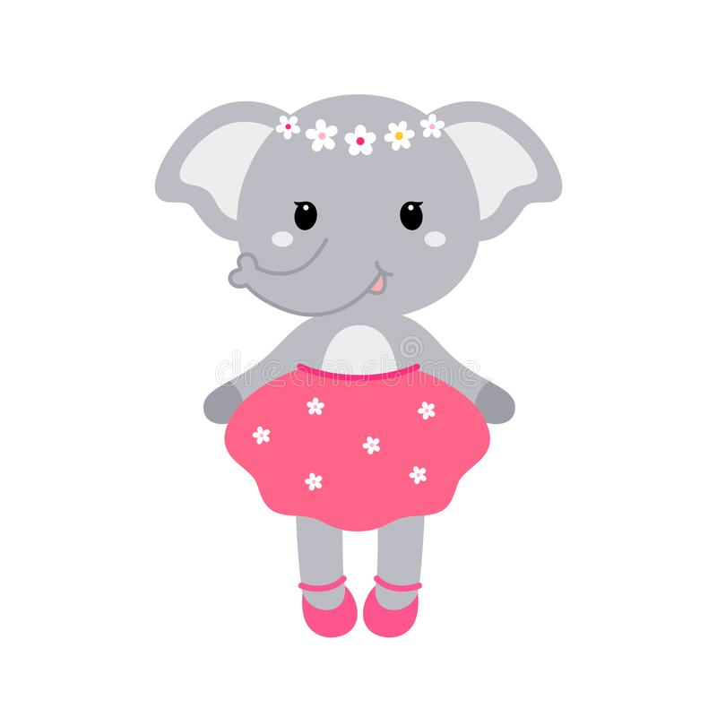 Illustration of a cute funny elephant girl in a dress. Concept for children print. vector illustration