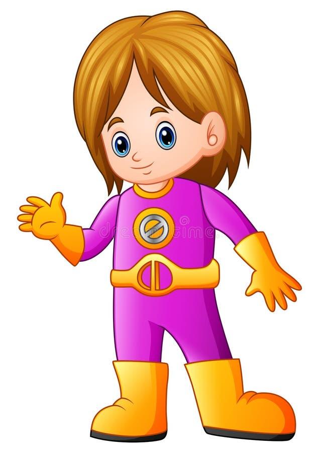 Cute girl cartoon in superhero costume waving royalty free illustration