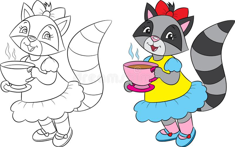 Before and after illustration of a cute girl raccoon, drinking tea, in black and white and in color, for coloring book stock illustration