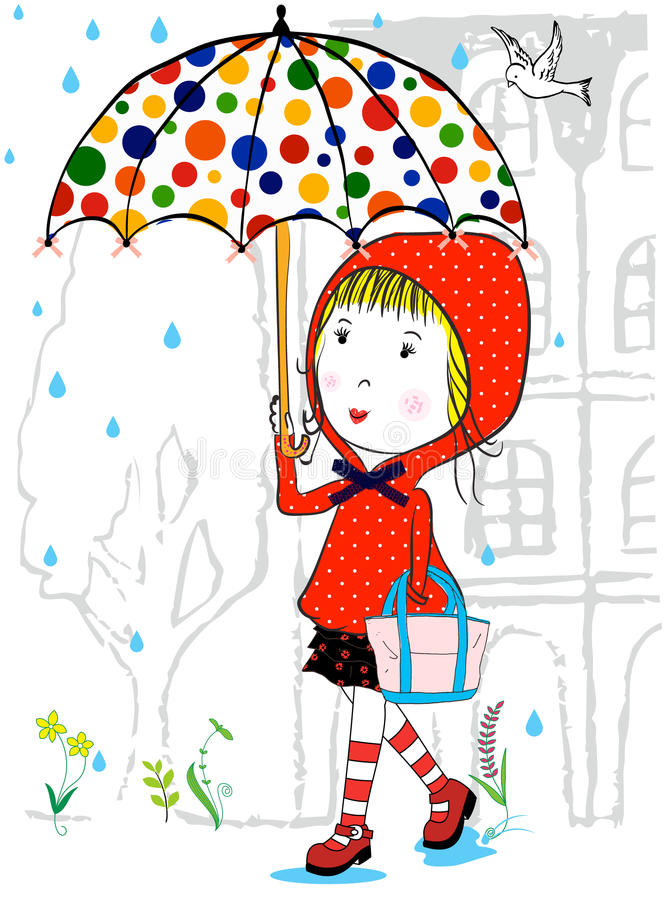 Illustration Of Cute Girl And With Umbrella In Rainy Season Stock Vector Illustration Of Child