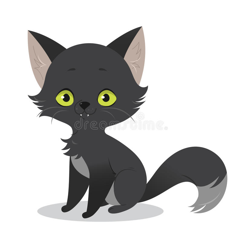 Illustration of a cute happy cartoon black cat character. stock illustration