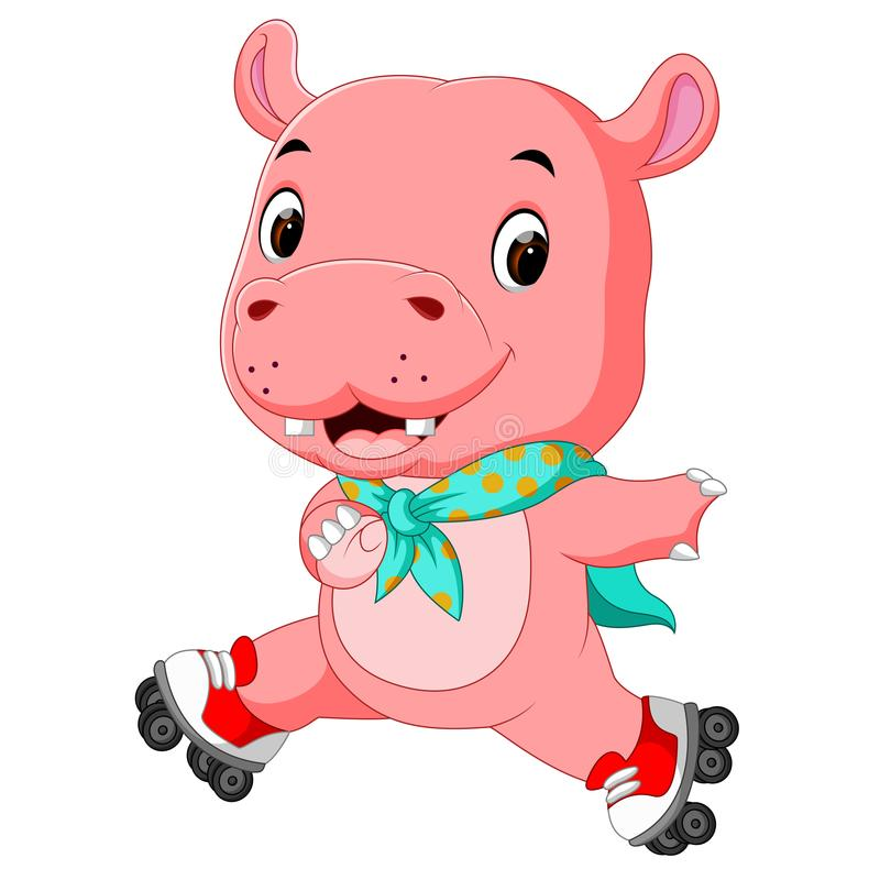 Cute hippo playing roller skates. Illustration of cute hippo playing roller skates vector illustration