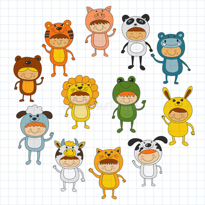 Illustration of cute kids wearing animal costumes. Vector image royalty free illustration