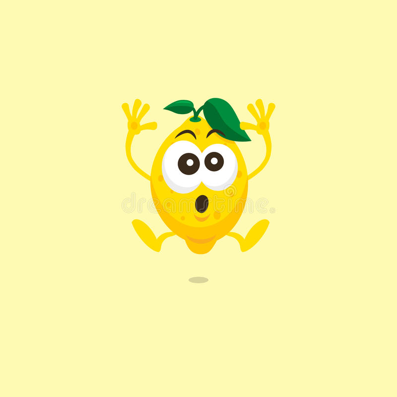 Illustration of cute lemon scared mascot stock illustration